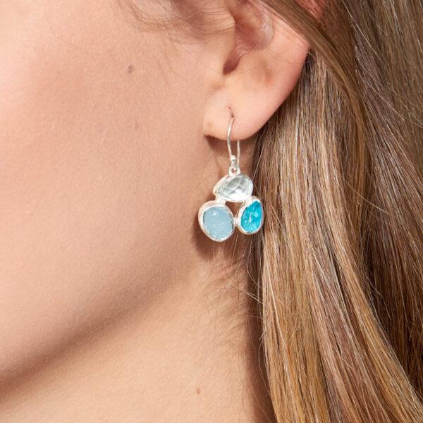 Aquamarine & Apatite Gemstone Sterling Silver Ladies Petal Earrings