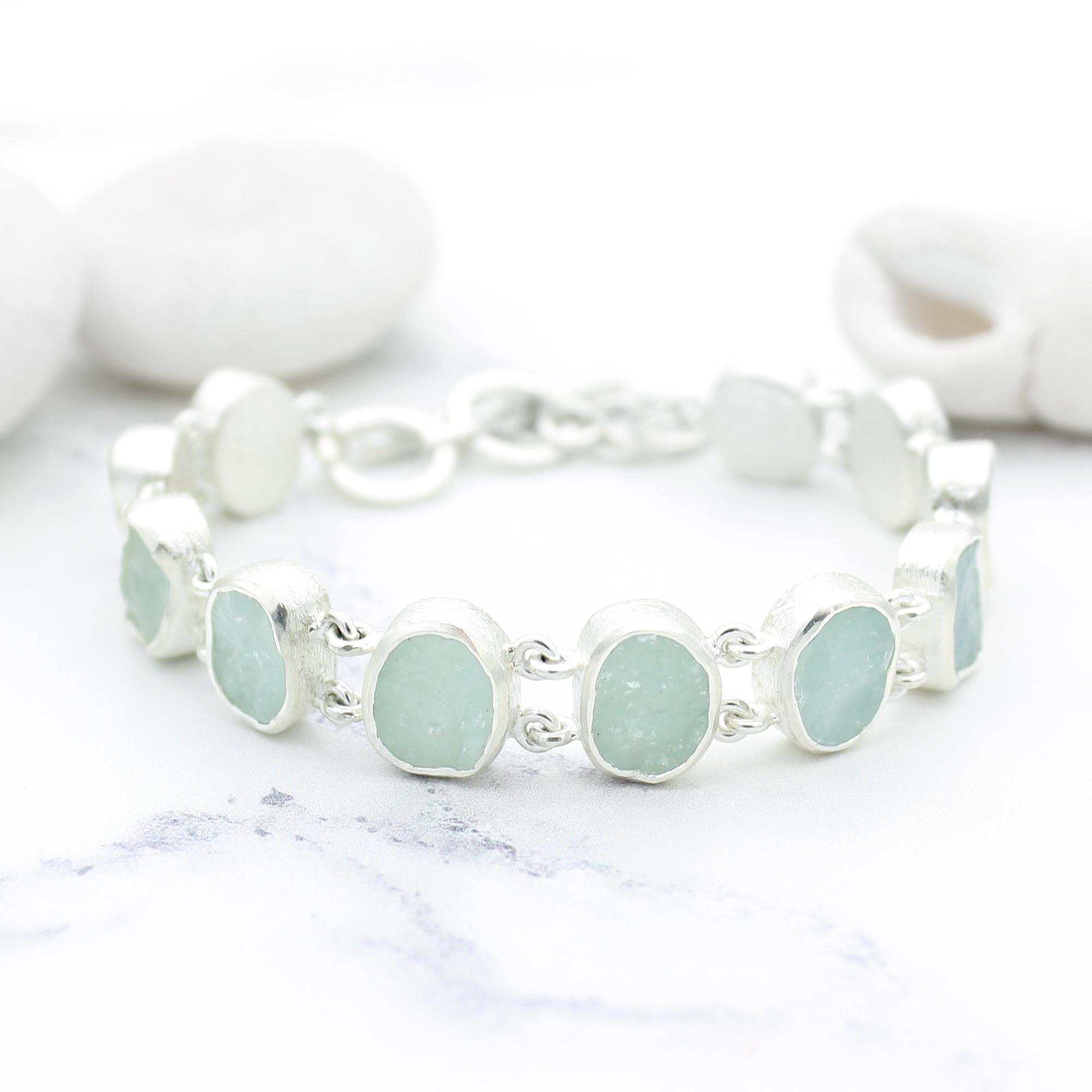 Aquamarine Gemstone Handmade Sterling Silver Ladies Bracelet