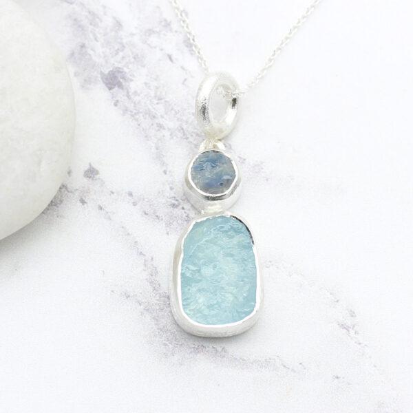 Aquamarine And Moonstone Gemstone Ladies Silver Pendant