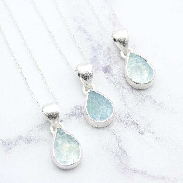 Aquamarine Gemstone Handmade Sterling Silver Small Pendant