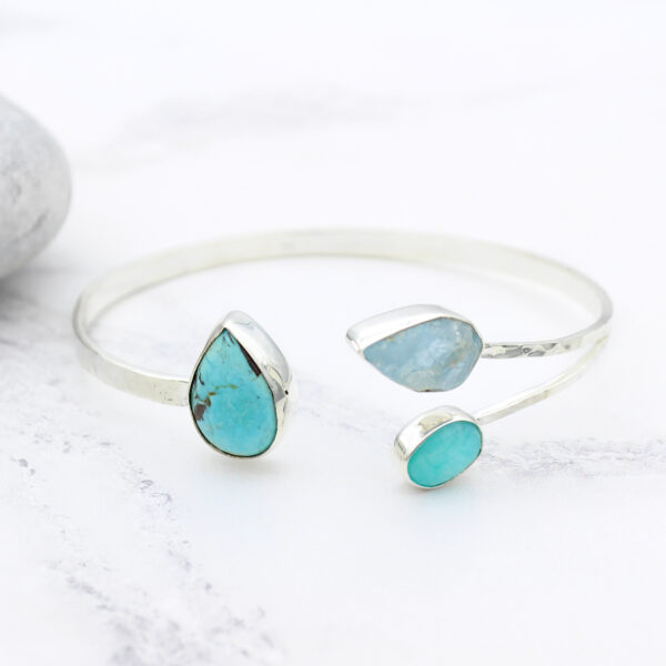 Aquamarine, Amazonite & Turquoise Gemstone Hammered Sterling Silver Bangle