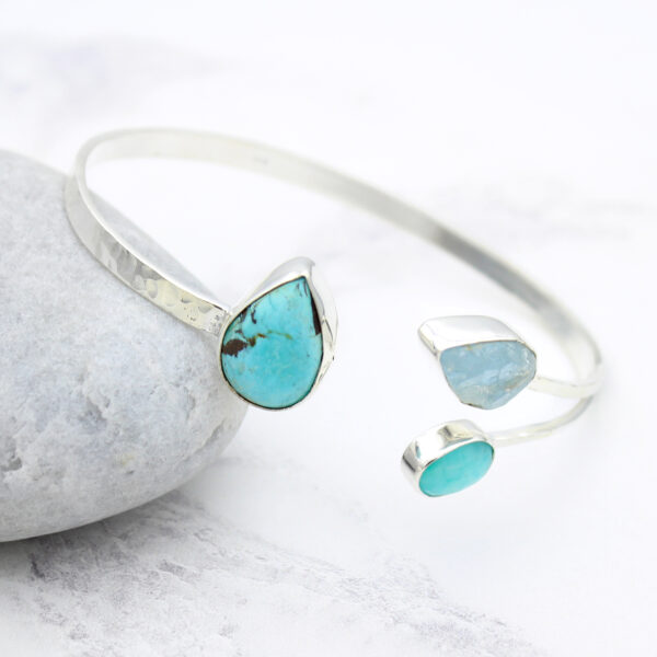 Aquamarine, Amazonite & Turquoise Gemstone Hammered Sterling Silver Bangle