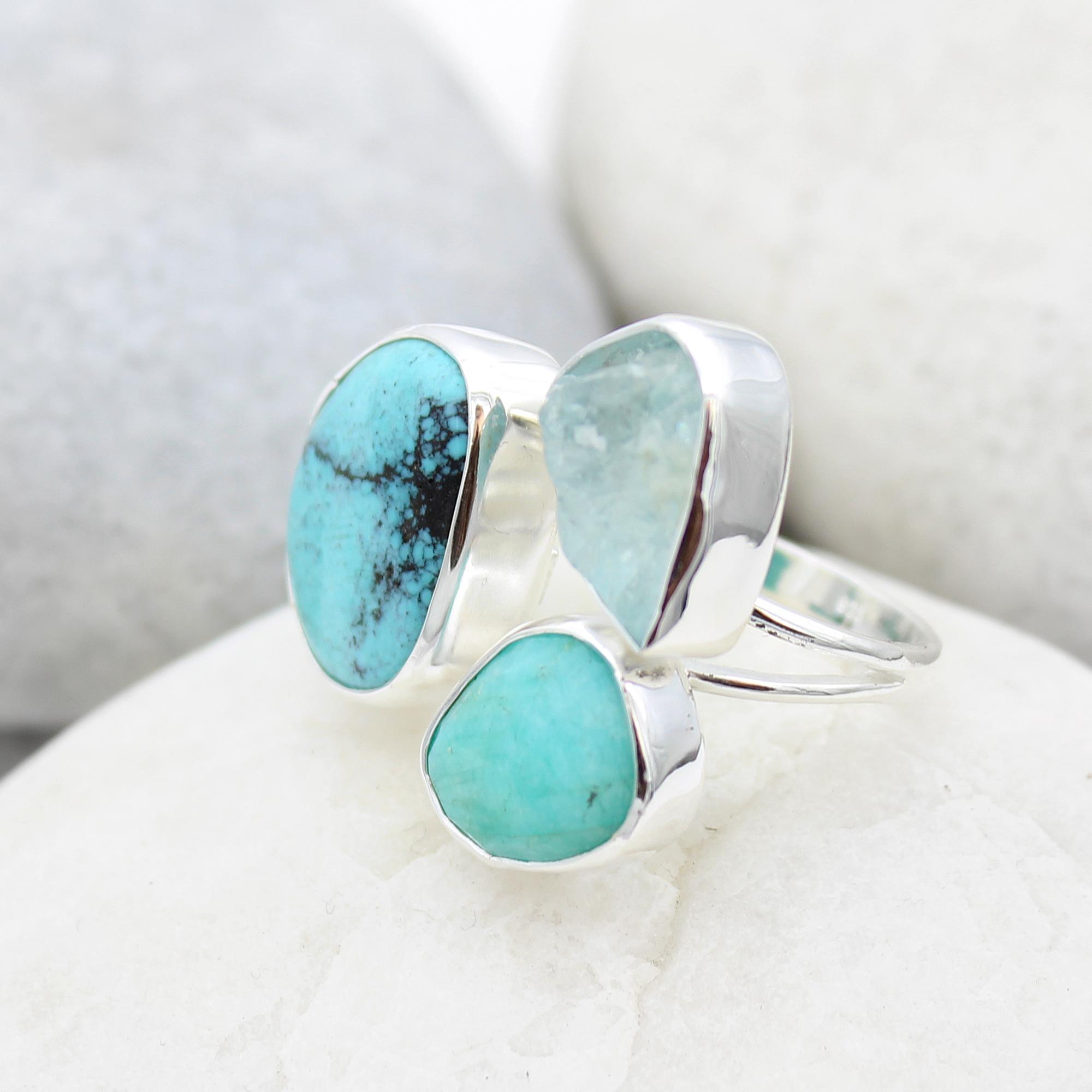 Aquamarine, Amazonite & Turquoise Gemstone Sterling Silver Ring