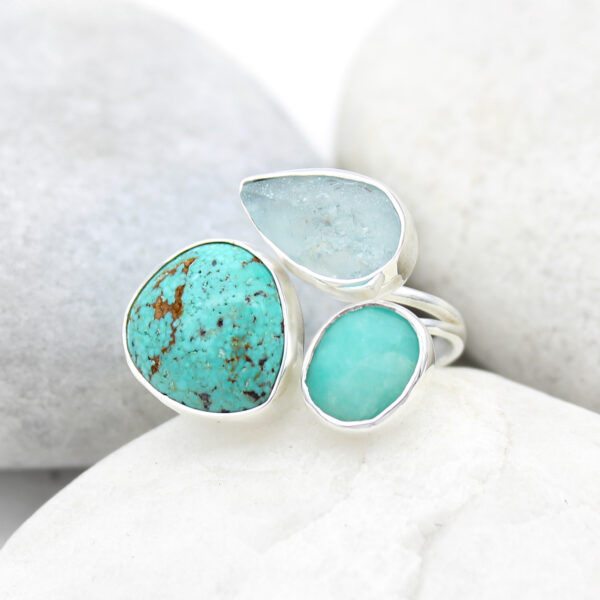 Aquamarine, Amazonite & Turquoise Gemstone Sterling Silver Ring