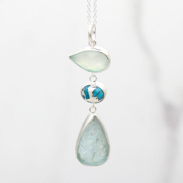 Aquamarine, Chalcedony & Turquoise Gemstone Silver Pendant