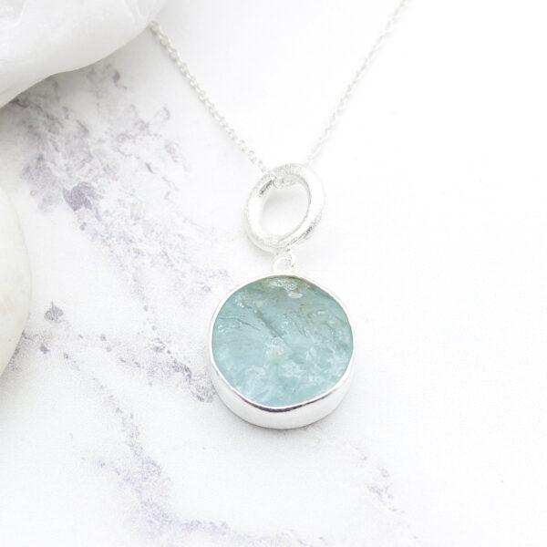 Aquamarine Gemstone Silver Pendant