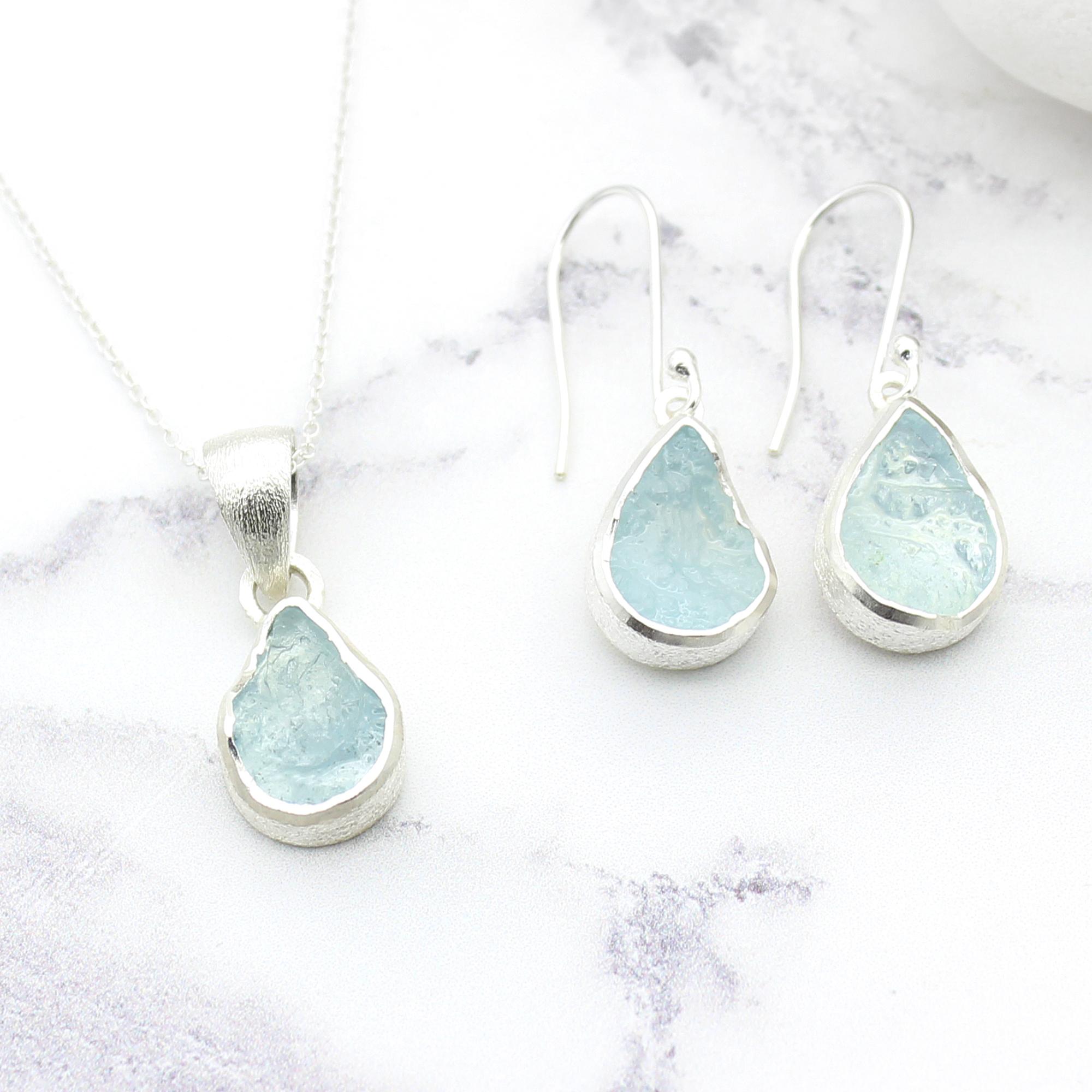 Aquamarine Gemstone Silver Pendant and Earrings Set