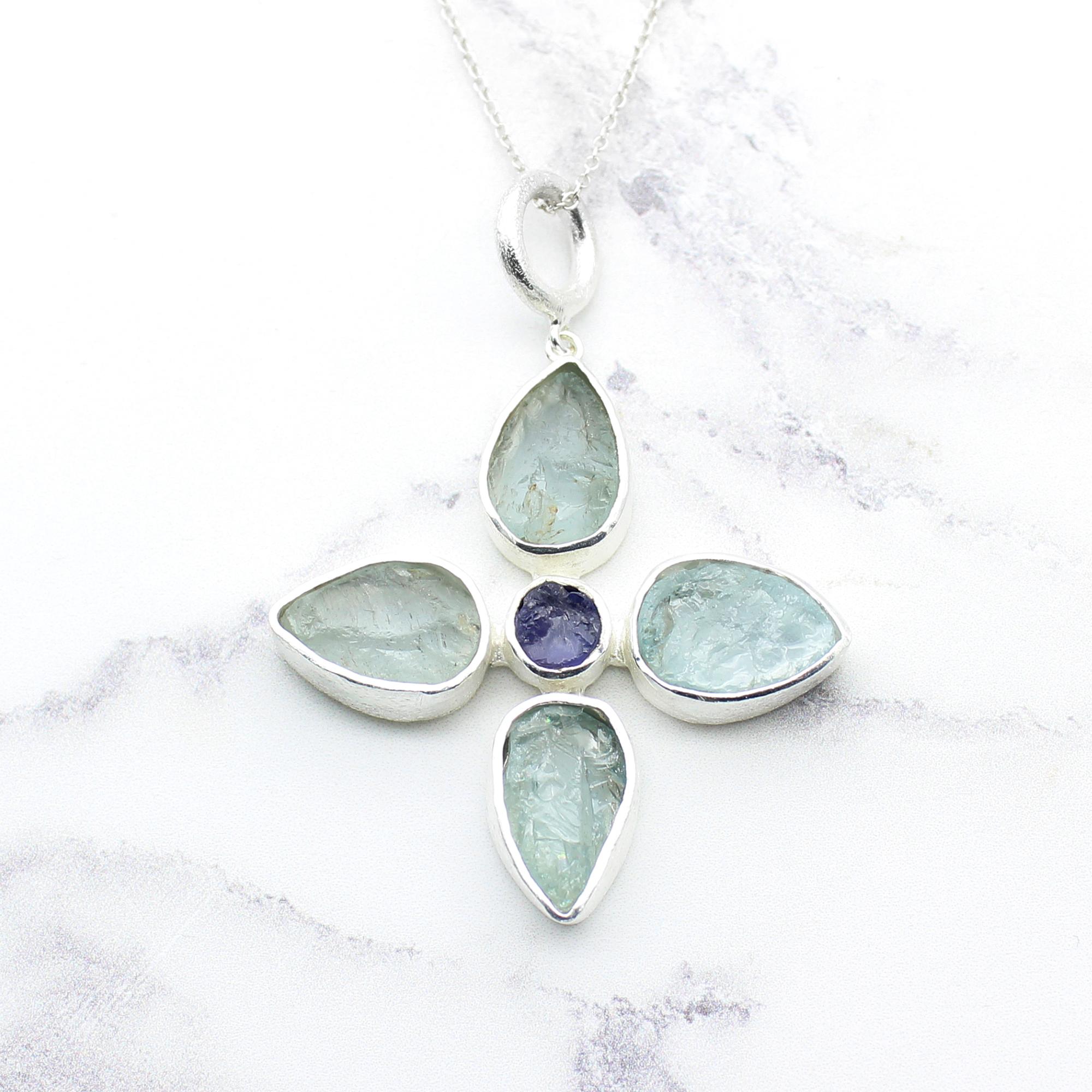 Handmade Aquamarine & Tanzanite Gemstone Flower Sterling Silver Pendant