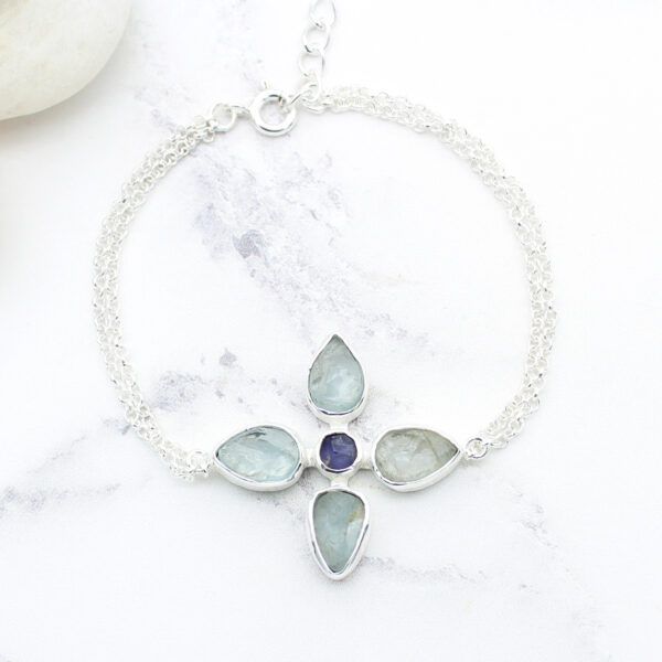 Handmade Aquamarine & Tanzanite Gemstone Flower Sterling Silver Bracelet