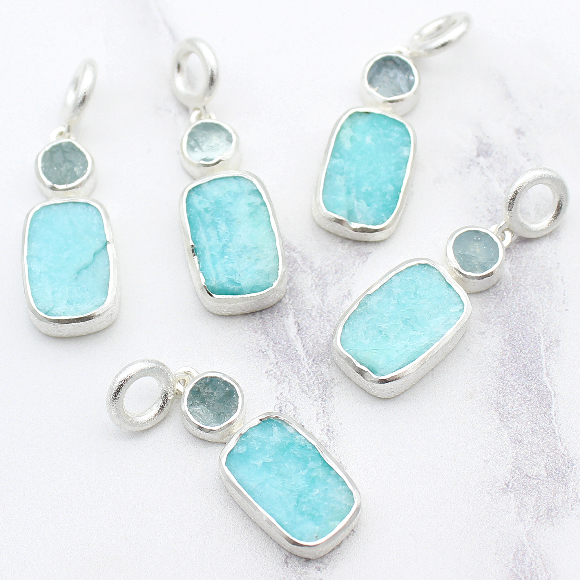 Aquamarine And Amazonite Gemstone Handmade Sterling Silver Pendant