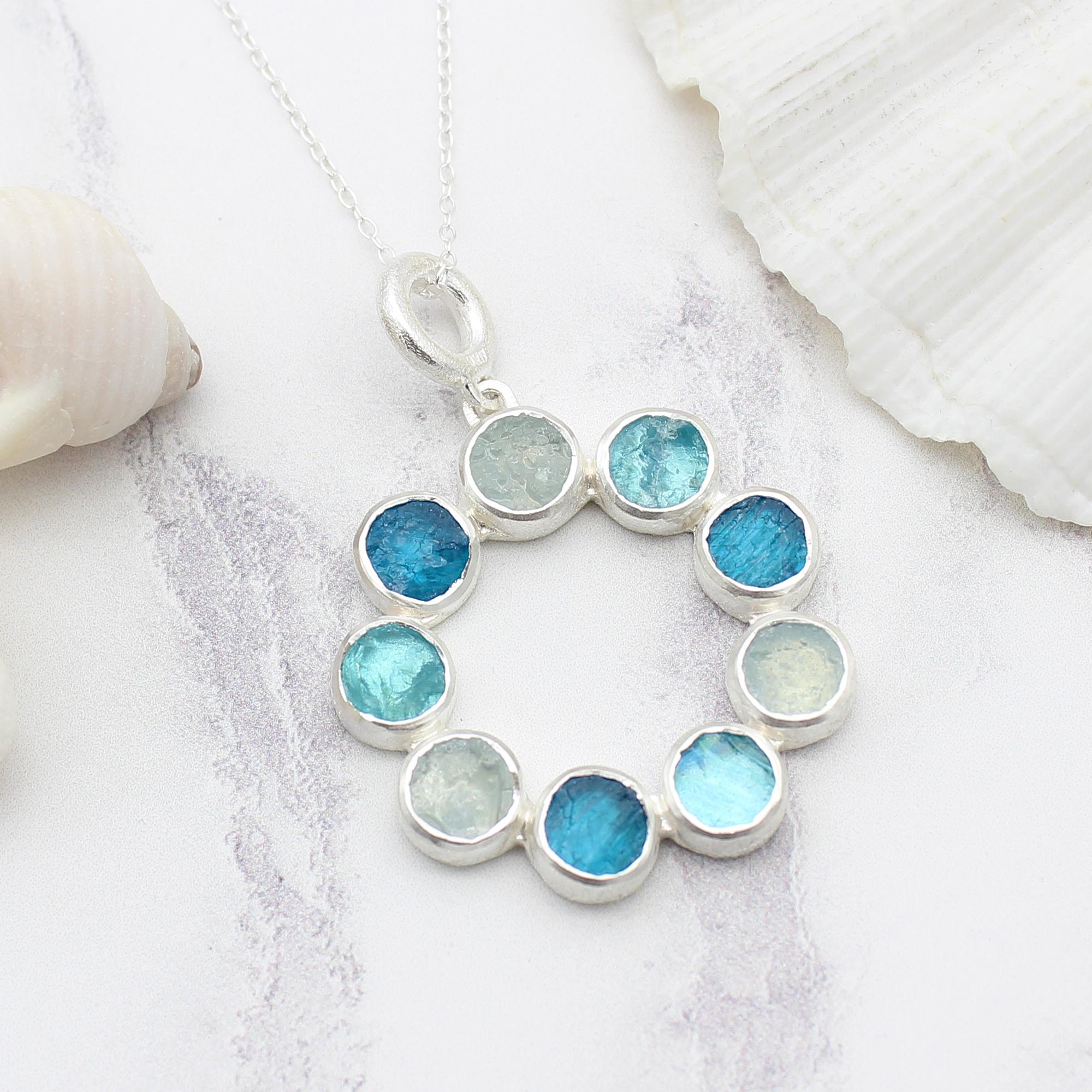 Aquamarine, Apatite & Neon Apatite Gemstone Sterling Silver Pendant Necklace