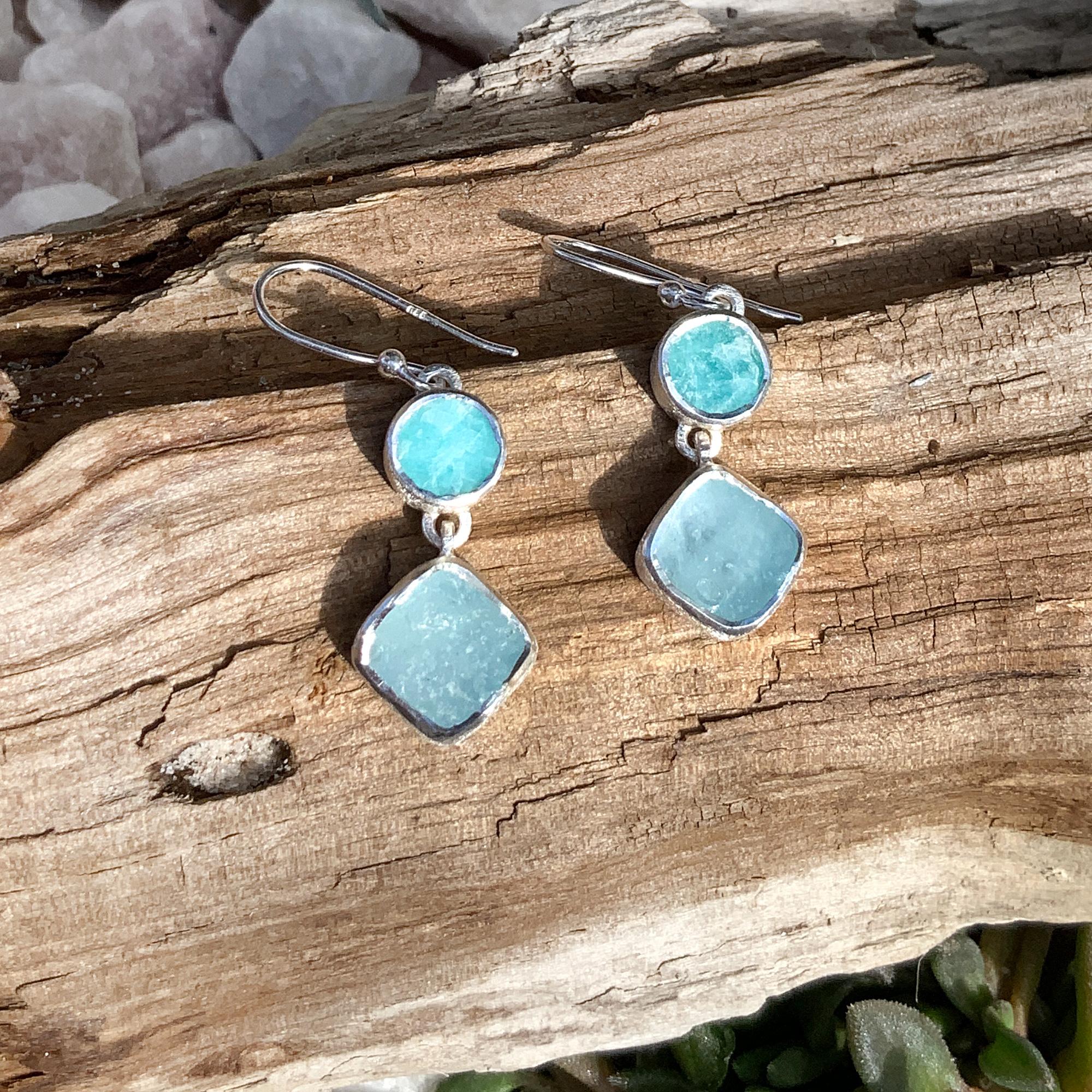 Handmade Aquamarine & Amazonite Gemstone Sterling Silver Ladies Earrings