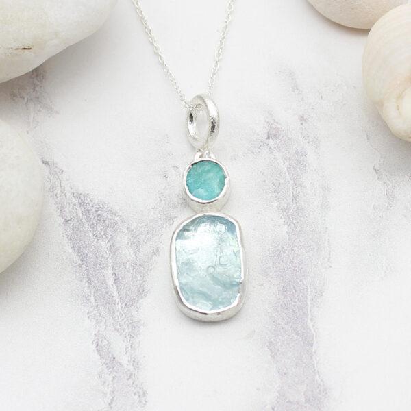 Aquamarine And Amazonite Gemstone Handmade Silver Pendant