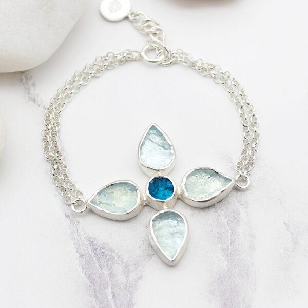Handmade Aquamarine & Apatite Gemstone Flower Sterling Silver Bracelet
