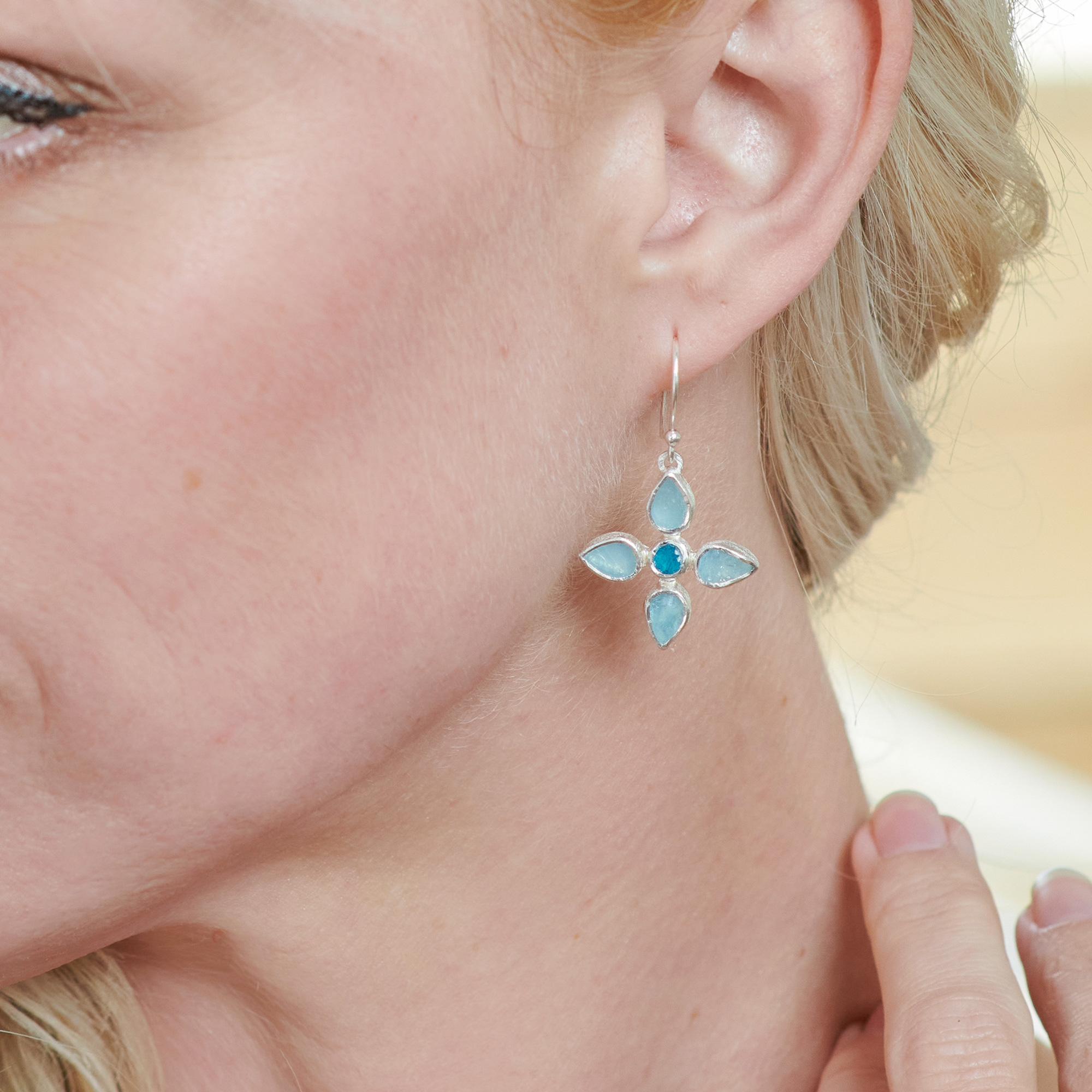Aquamarine & Apatite Gemstone Sterling Silver Flower Earrings