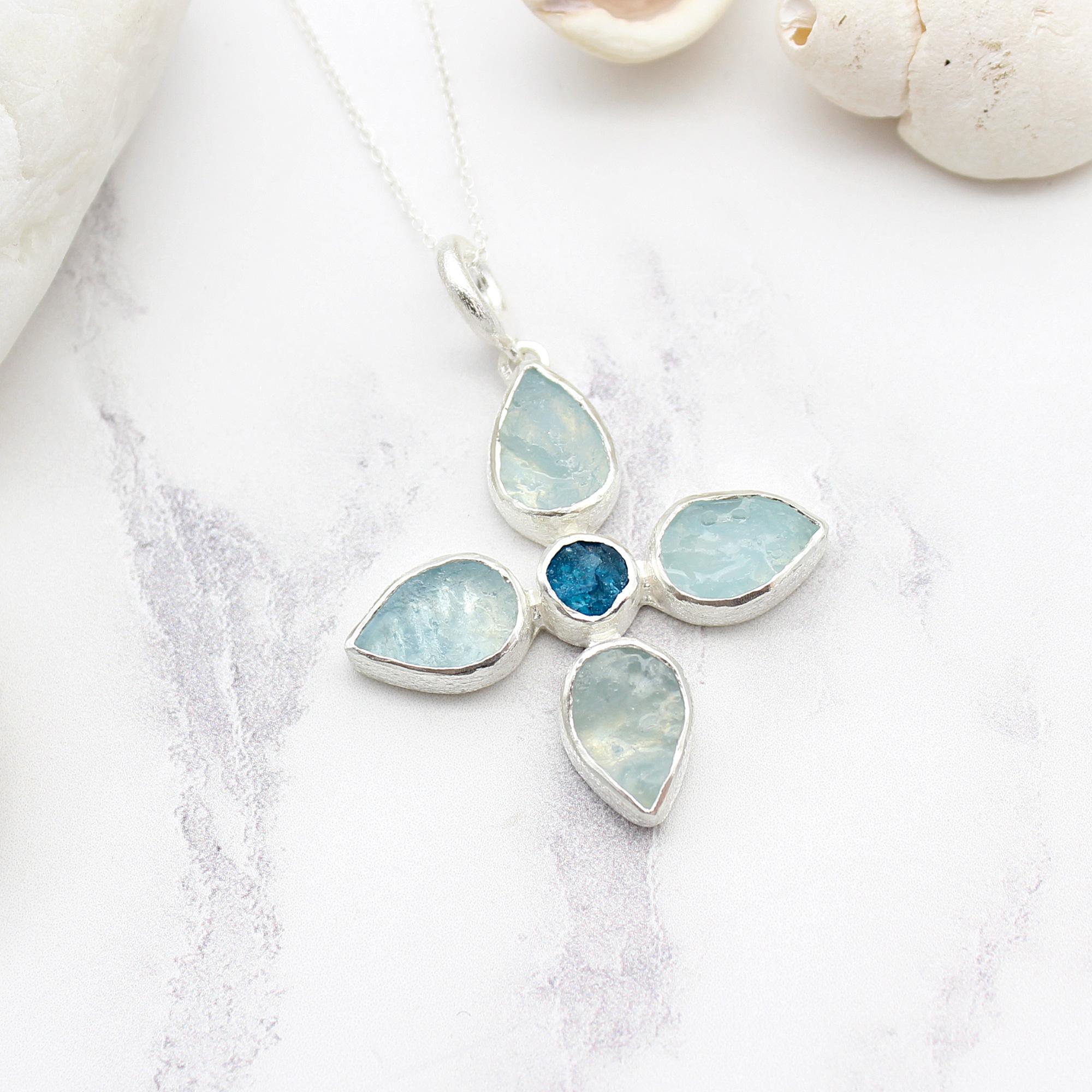 Handmade Aquamarine & Apatite Gemstone Flower Sterling Silver Pendant