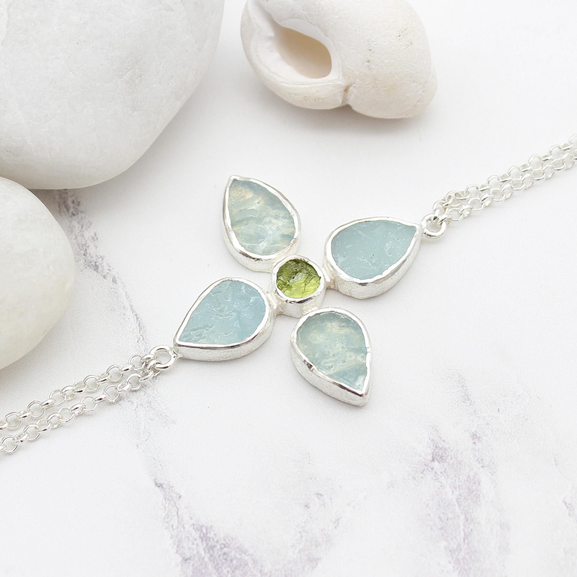 Handmade Aquamarine & Peridot Gemstone Flower Sterling Silver Bracelet