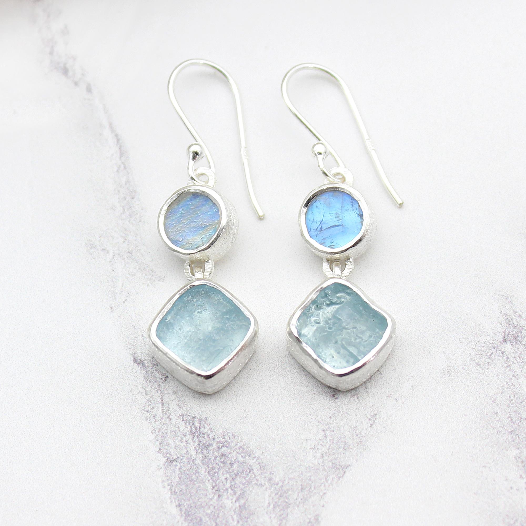 Handmade Aquamarine & Rainbow Moonstone Gemstone Sterling Silver Ladies Earrings