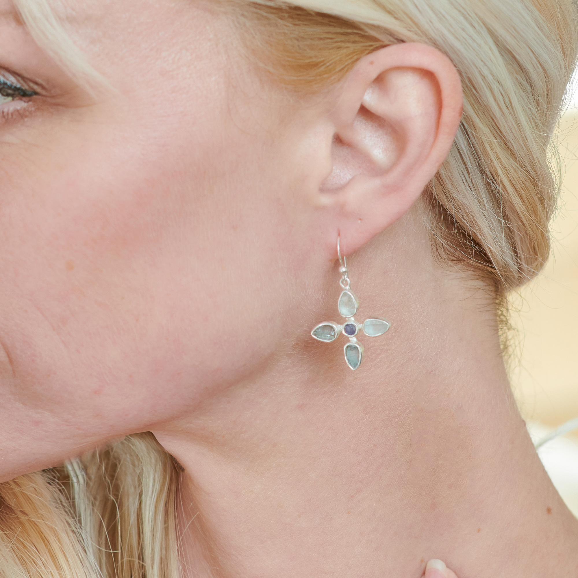Aquamarine & Tanzanite Gemstone Sterling Silver Flower Earrings