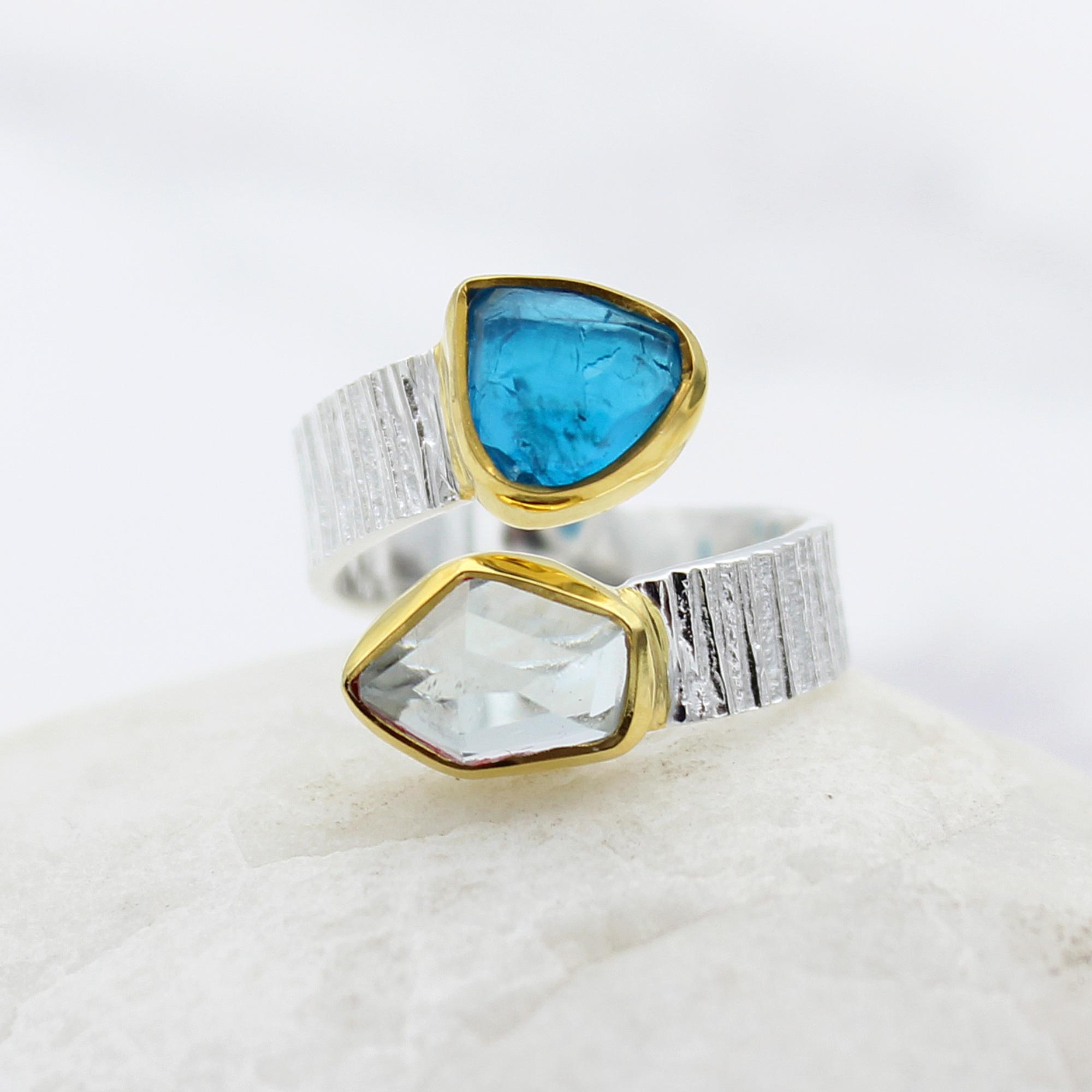 Aquamarine and Apatite Gemstone Adjustable Sterling Silver Ring