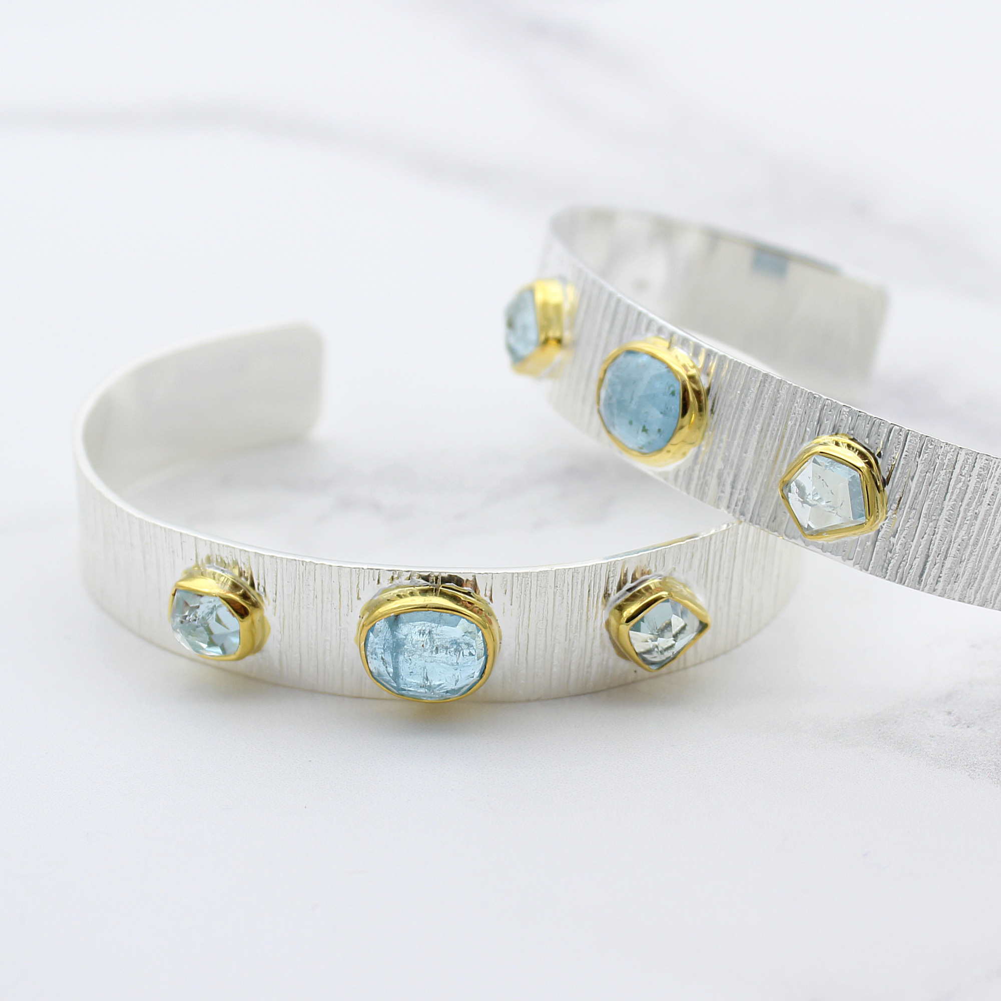 Aquamarine Gemstone Textured Sterling Silver Cuff